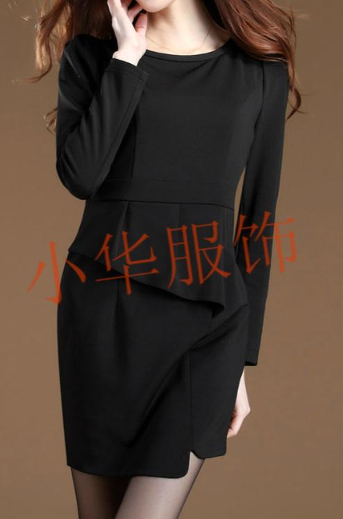 2012秋季新款通勤淑女假两件中裙女装不规则裙圆领套头针织连衣裙