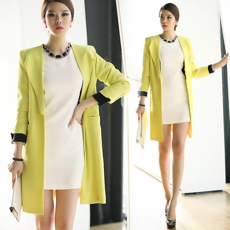 Малые костюмы женщин осенью 2015 года Корея sz долго OL коммутирует оформлены в корейской версии хит цвет желтый пиджак пальто