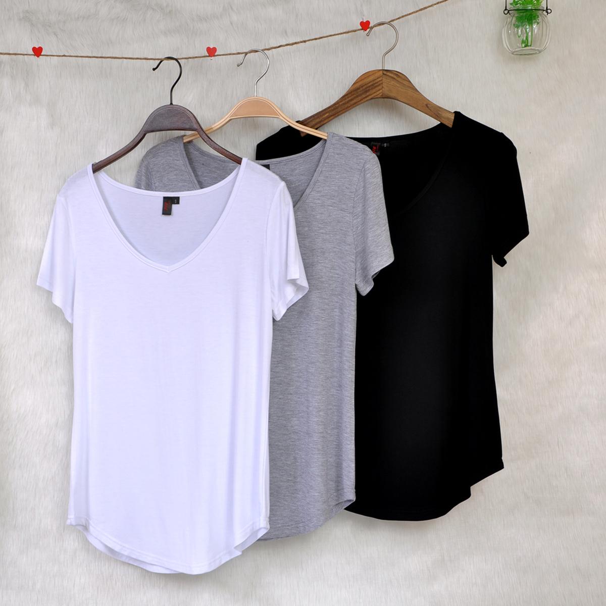 欧美风原单外贸大码女装夏季莫代尔棉短袖t恤宽松V领遮肚子打底衫