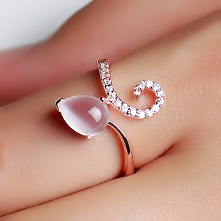 Crystal Natural Moonstone ring 925 sterling silver jewelry rose gold finger female New Year gift to send his girlfriend