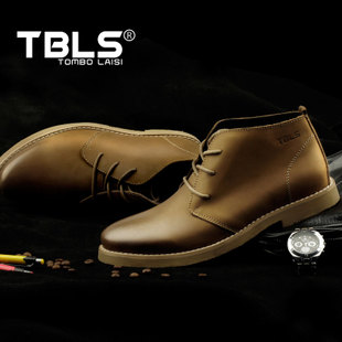 TBLS Tom platinum Royce first layer of leather men s British style high top shoes men wiping color retro casual boots