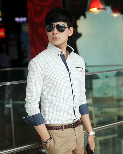 Korean authentic temperament 2021 spring and summer business slim fit Plaid denim mens long sleeve shirt