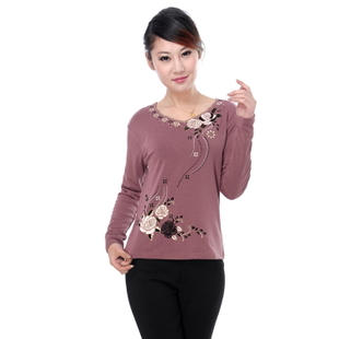 2015 middle aged women s spring new long sleeved T shirt bottoming shirt Spring middle aged mother dress shirt t shirt