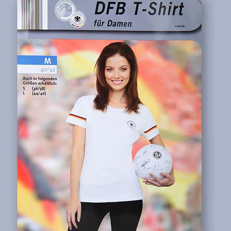 Оригинальный одной Германии команда плюс размер хлопка спорта DFB-футбольные болельщики круглый шеи короткий рукав впитываемость футболка женщина 200 г