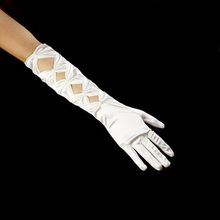 Diffuse yarn precious son Wedding dresses wedding accessories The bride gloves Rice white satin long gloves ST - 208