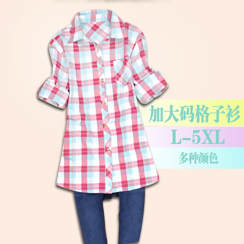 Жир мм плюс размер плед рубашку женщин длинные свободные Корейский 2014 осенью длинный дамы Футболка хлопок новый