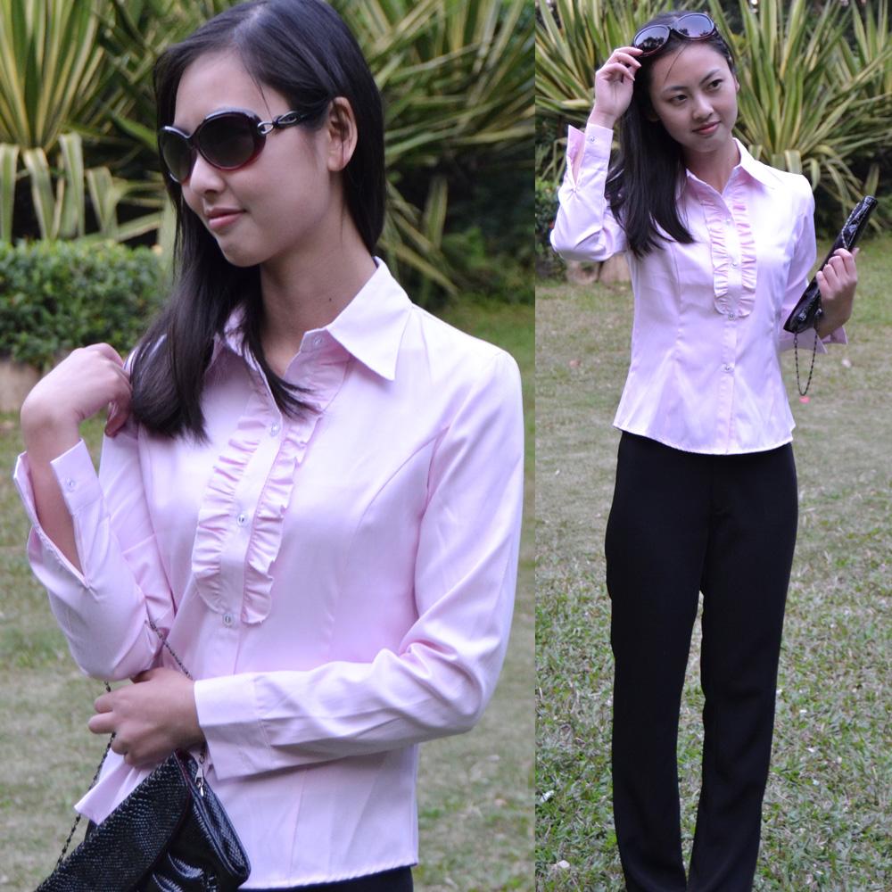 New style Ruffle slim Korean occupation shirt long sleeve female occupation Shirt PINK WHITE BLUE