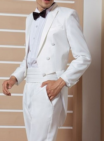 European and American mens dress white tuxedo bridegrooms dress suit short front and long back