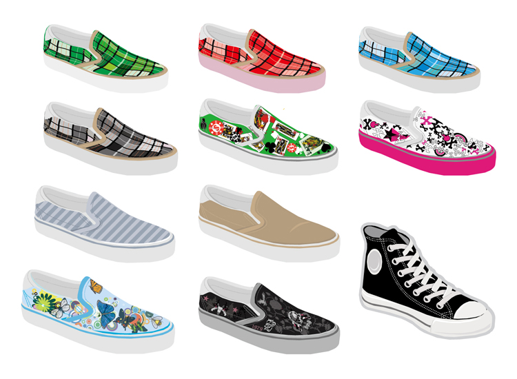 Multiple beautiful fashion canvas shoes AI vector material 11 pattern canvas shoes material design material
