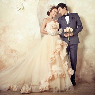 Recommended Korean luxury trailing studio theme clothing photography couple photo wedding dress L134