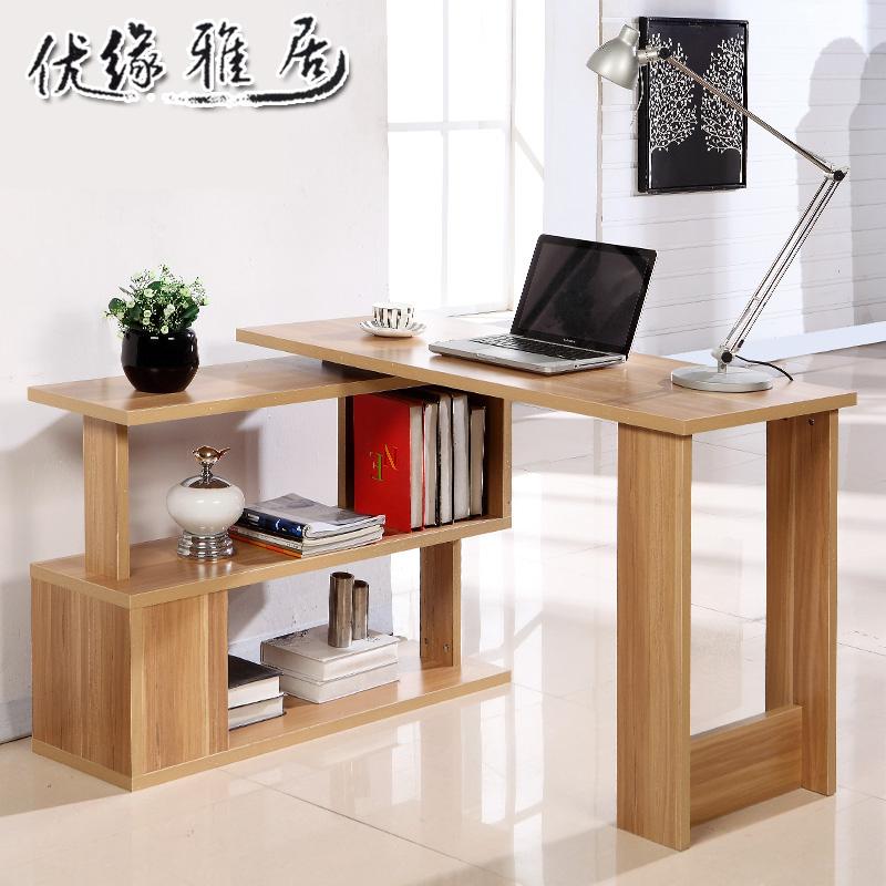 包郵 簡約轉角電腦桌台式桌書桌旋轉學習桌辦公桌寫字台書櫃