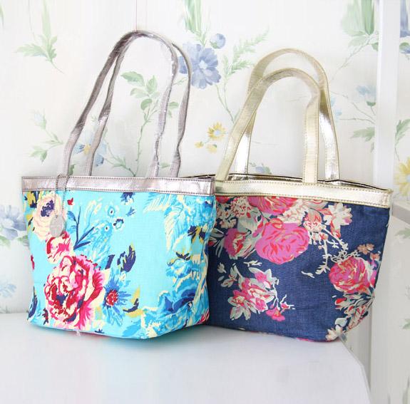 外贸日单田园风可爱甜美洛丽塔玫瑰花印花帆布防水手提包包便当包