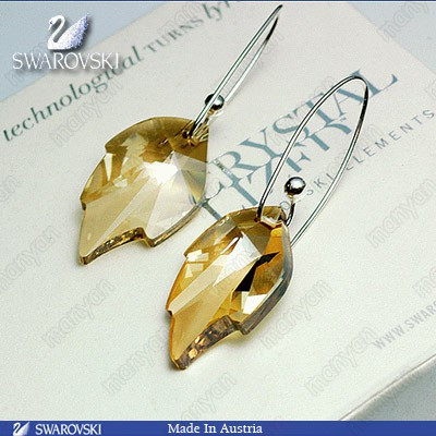 Exquisite Austrian imported elements creative exaggeration Maple Crystal Earrings Korean womens Earrings Festival gift