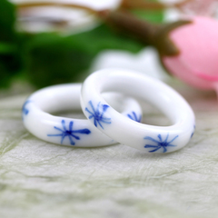 Green ceramic jewelry national style blue and white porcelain of Jingdezhen ceramic rings rings rings ladies