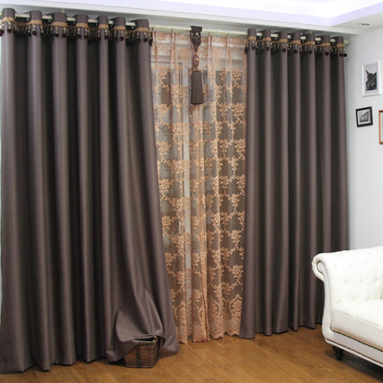 Bedroom Thickened Full Sun Shade Curtain Plain Color Living Room Sun Shade Curtain