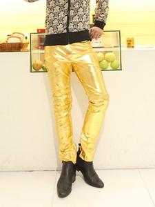 【天天特价】夜店性感男装金色皮质舞蹈裤个性演出服银色男皮裤