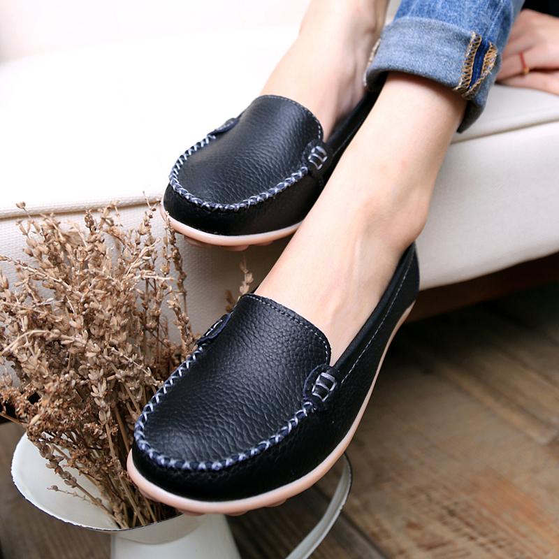 外贸女鞋凉鞋大码鞋铺断码真皮船鞋特价清仓牛皮复古棕色平底单鞋
