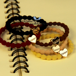 South Korean imports of Korean hearts gilded metal super elastic rubber band elastic hair ring hair rope hair jewelry