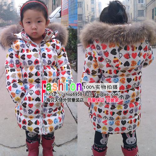 Moschino детей/дети/девочек иностранных торговли высокого качества вниз куртка большой застежка-молния пальто вокруг бумажник