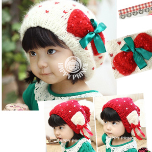 2012 Winter new Korean baby girls cute bow warm winter wool hat models naked marriage age
