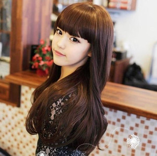 Ms fashion wig long curly hair fluffy Qi bangs big wave long straight hair repair face handsome lifelike Korean