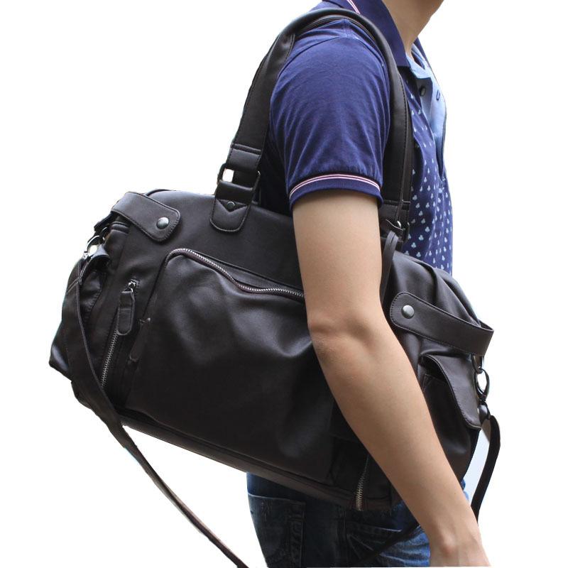 男士帆布包包商务手提包单肩包斜挎男休闲复古背包大容量旅行包潮