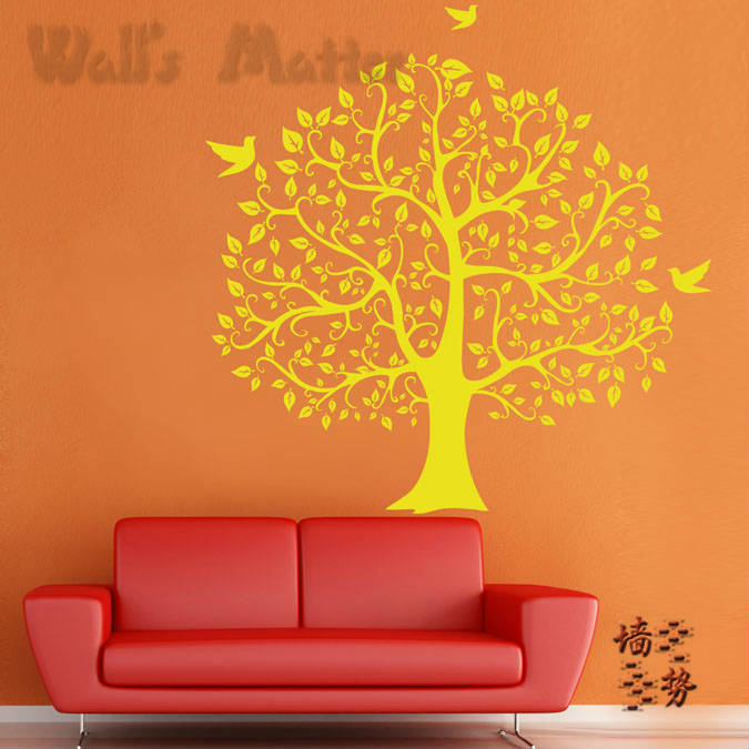 Happy tree sticker living room sofa TV background wall decal Bar Cafe glass door office Decal