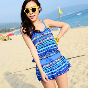 Authentic fashion stripe skirt piece bikini swimsuit three piece steel prop female swimsuit hot springs female big yards