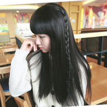 Packages mailed the new wig sweet girls fashion Qi Liu Haichang straight hair with braids the whole wig caps