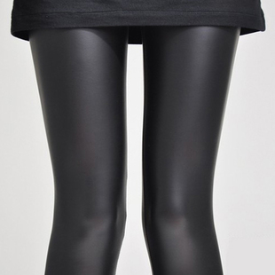 European counter genuine high grade leather PU warm fleece matte leather leggings come