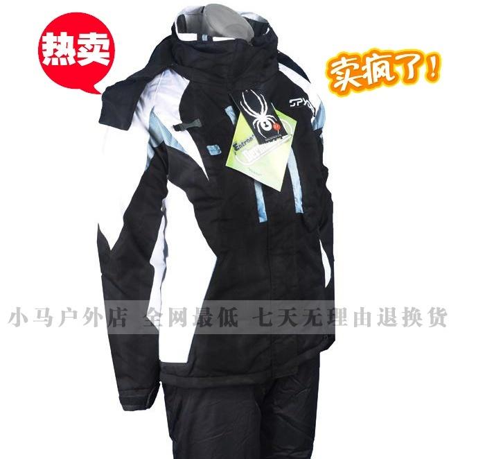 Spyder/пауки одежды женщин Соединенных Штатов держать теплый ветер набора и водонепроницаемый дышащий лыжный костюм черный