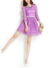 Meet time ~ new heavy water umbrella on a big sweet luxury lace cropped sleeve OL dress