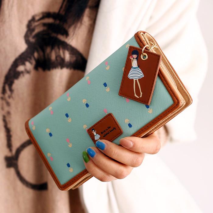 Карты бумажник большой zip вокруг бумажник корейских девочек милый студент девочек 2015 новая мода застежка-молния сладкий леди