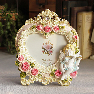 5 inch European style palace photo frame creative pastoral lovely angel small heart shaped photo frame Children Frame XK113