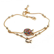 YUKI jewelry anklets ladies Austria Crystal Korea fashion new girlfriend cute toot fish lover gifts
