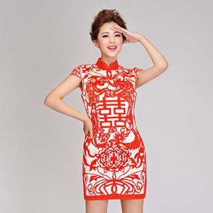 Xin Zhang retro fashion personality character Double Happiness Chinese paper cut style bride married toast cheongsam dress short
