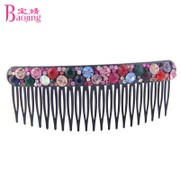 Baojing jewelry Korea hair accessories plug the female headdress movable comb Korean version of the multi-tooth comb color rhinestone fringe comb