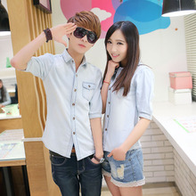 Han edition of sweethearts outfit summer wear cowboy shirt male and female college students' summer with short sleeves coat thin summer clothes outside