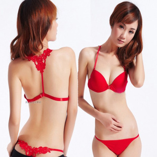 Cheap Japanese girl back button before the United States gather sexy red thong underwear bras Sets