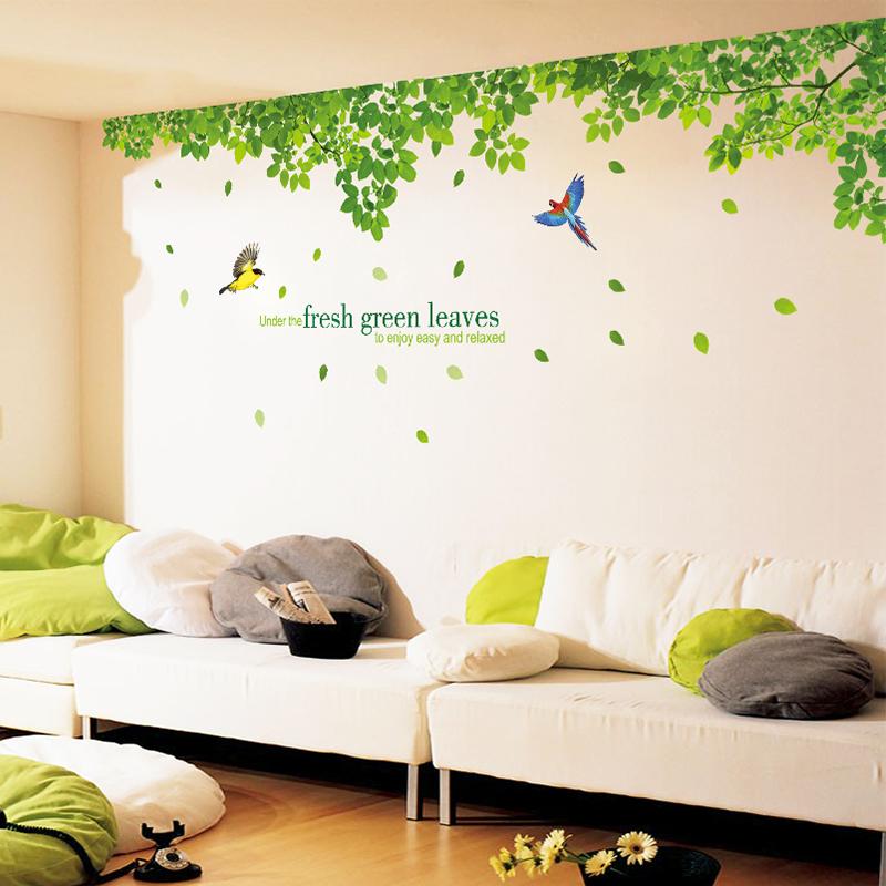 大型電視背景牆貼紙 客廳沙發牆臥室床頭 貼畫 清新綠樹綠葉