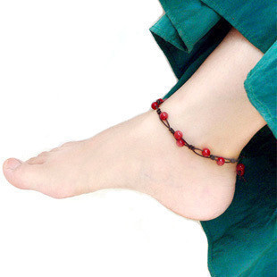 Opening of the natural crystal anklets female red agate red string natal Korean fashion foot ring bells