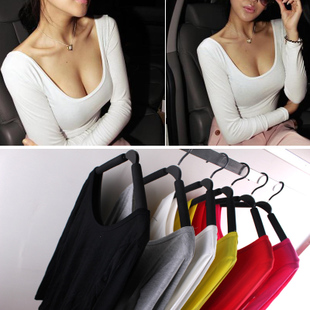 It can be customized 2015 new Slim thin solid color sexy big U neck long sleeved T shirt bottoming shirt tide female beauty