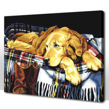 Special package mail sitting room adornment pet classic lovely animal yellow dog DIY digital painting 40 to 50 golden retriever
