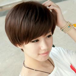 包邮 真发假发套修脸BOBO头斜刘海真人短直发短发蓬松帅气OL女士