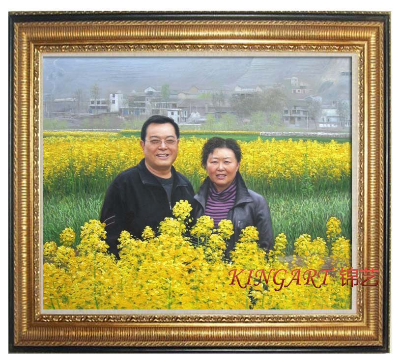 Living room decorative painting custom photo wall painting hand painting oil painting bedroom hanging painting realistic portrait of people x016
