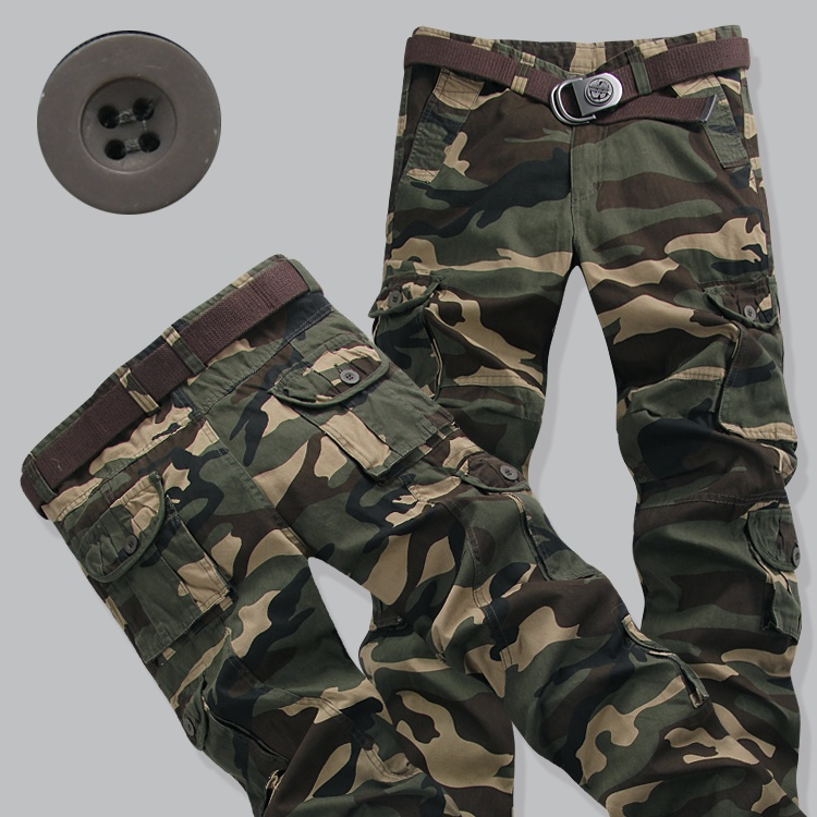 Multi Pocket mens camouflage overalls mens pants loose outdoor casual pants Korean mens camouflage pants army pants fashion