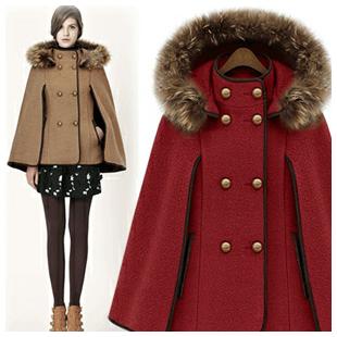 New fashion cloak boutique Street European and American hooded woolen coat coat detachable shawl wool collar Cloak