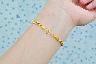 四葉草越南沙金女士手鍊歐幣黃銅女手鐲24k鍍金仿黃金情侶首飾