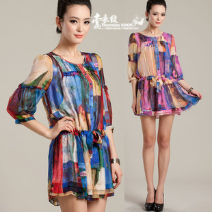 Clearance 70 off women s loose skirt 2014 summer new printed silk chiffon dress was thin big yards