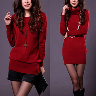 2013 Korean version of loose women hedging long sweater coat sweater female backing shirt